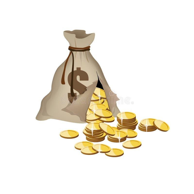torba łamający pieniądze ilustracji
