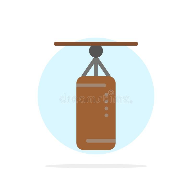Torba, boks, poncz torba, Uderza pięścią Abstrakcjonistycznego okręgu tła koloru Płaską ikonę ilustracji