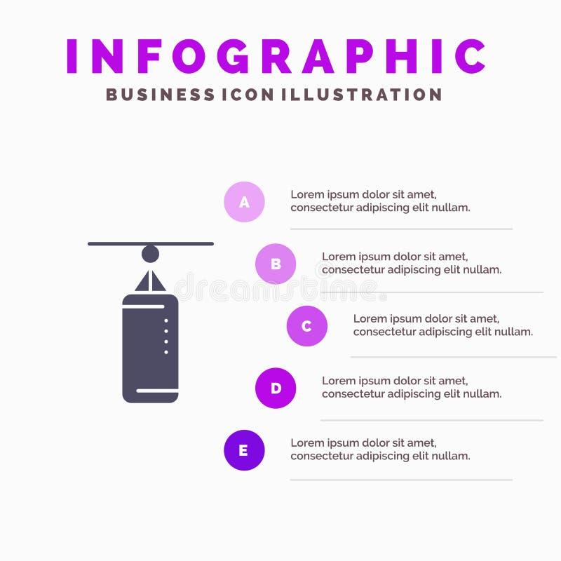 Torba, boks, poncz torba, Uderza pięścią Stałą ikonę Infographics 5 Kroczy prezentacji tło royalty ilustracja