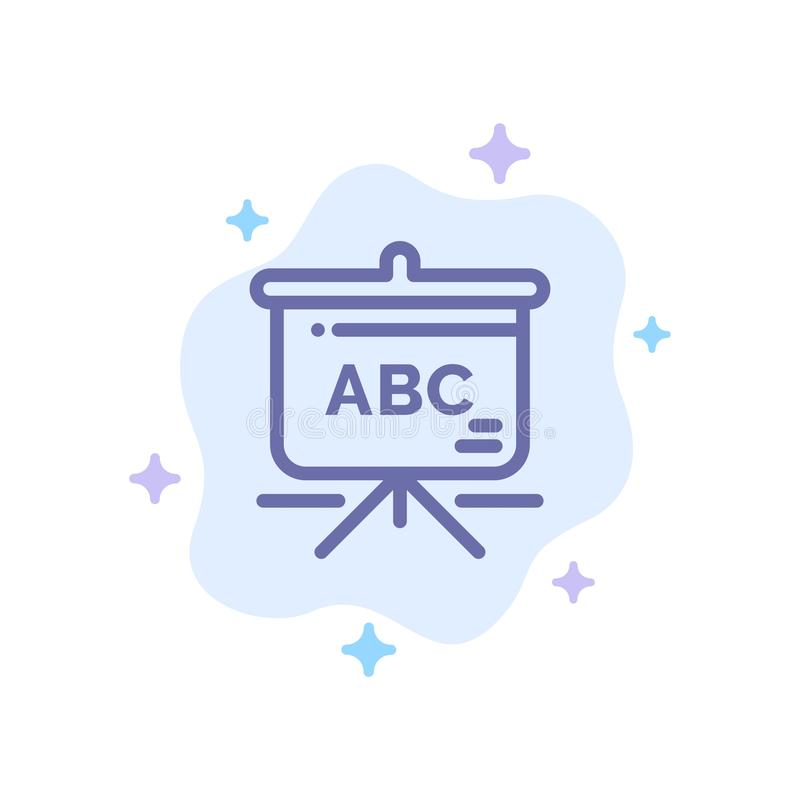 Torba, edukacja, Schoolbag Błękitna ikona na abstrakt chmury tle royalty ilustracja