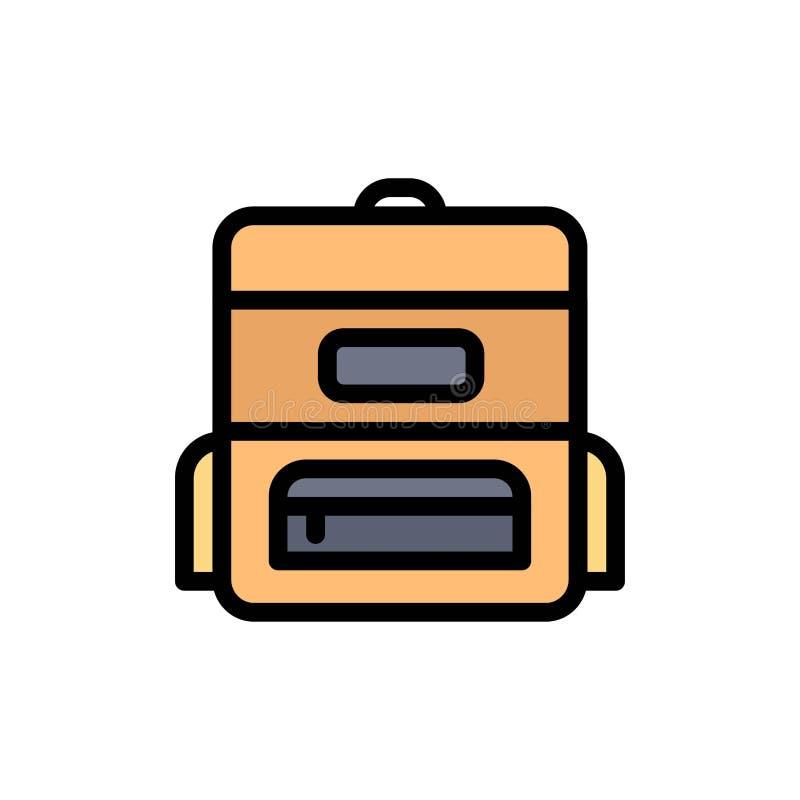 Torba, edukacja, Schoolbag koloru Płaska ikona Wektorowy ikona sztandaru szablon ilustracji
