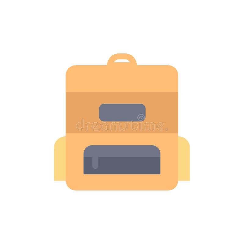 Torba, edukacja, Schoolbag koloru Płaska ikona Wektorowy ikona sztandaru szablon ilustracja wektor
