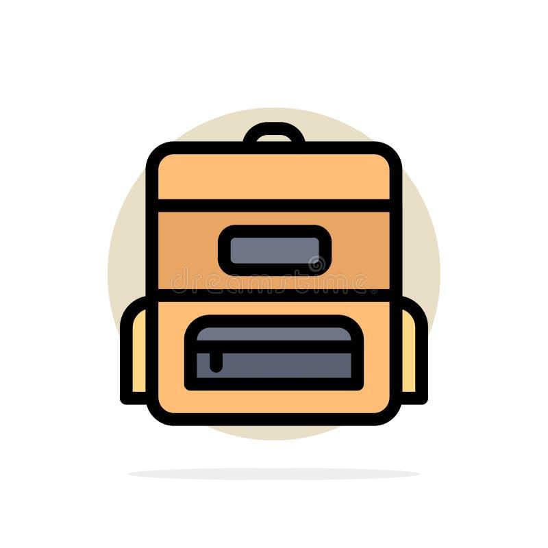 Torba, edukacja, torebka szkolna — ikona kółka abstrakcyjnego tła — płaski kolor ilustracja wektor