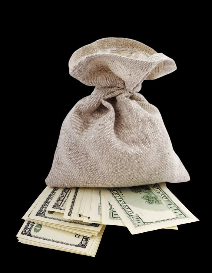 torba folujący pieniądze zdjęcia royalty free