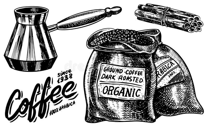 Torba kawowe fasole w rocznika stylu Ręka rysujący grawerujący retro nakreślenie Producenta cynamon i ilustracji
