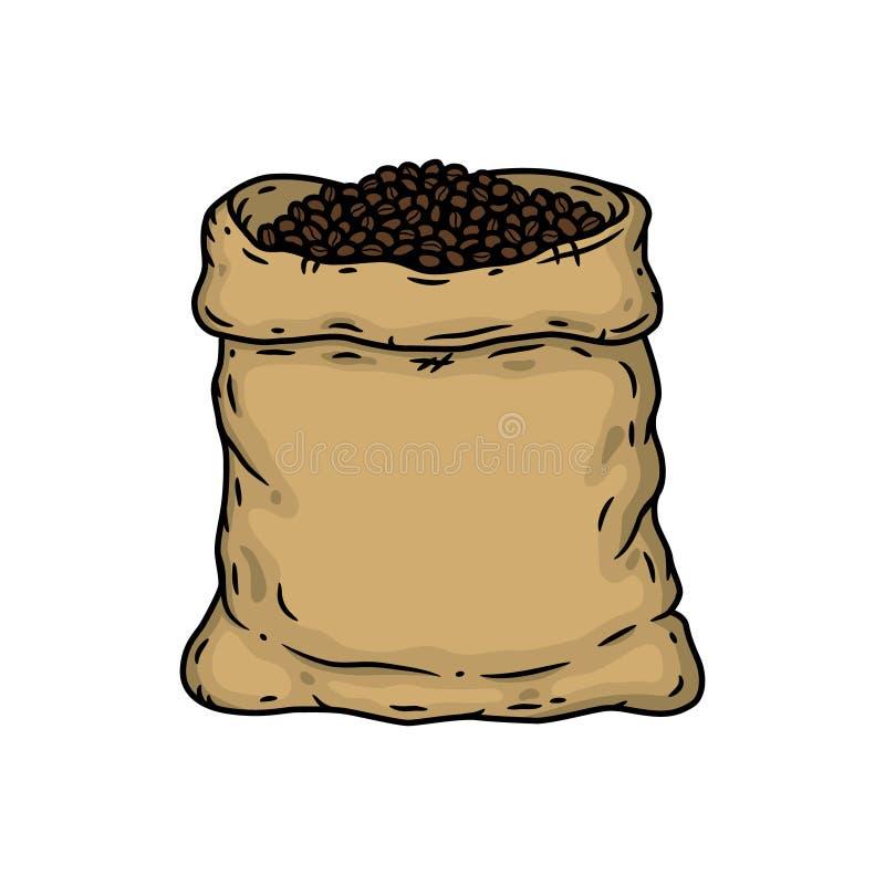 Torba kawowe fasole Wektorowa ilustracja odizolowywająca na biały tle ilustracja wektor