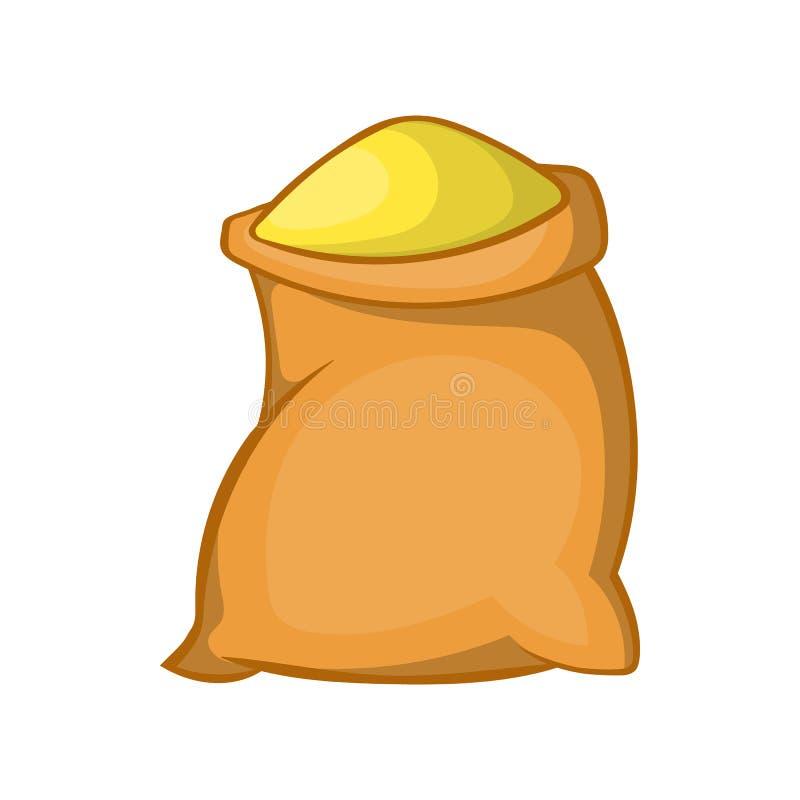 Torba mąki ikona w kreskówka stylu ilustracja wektor