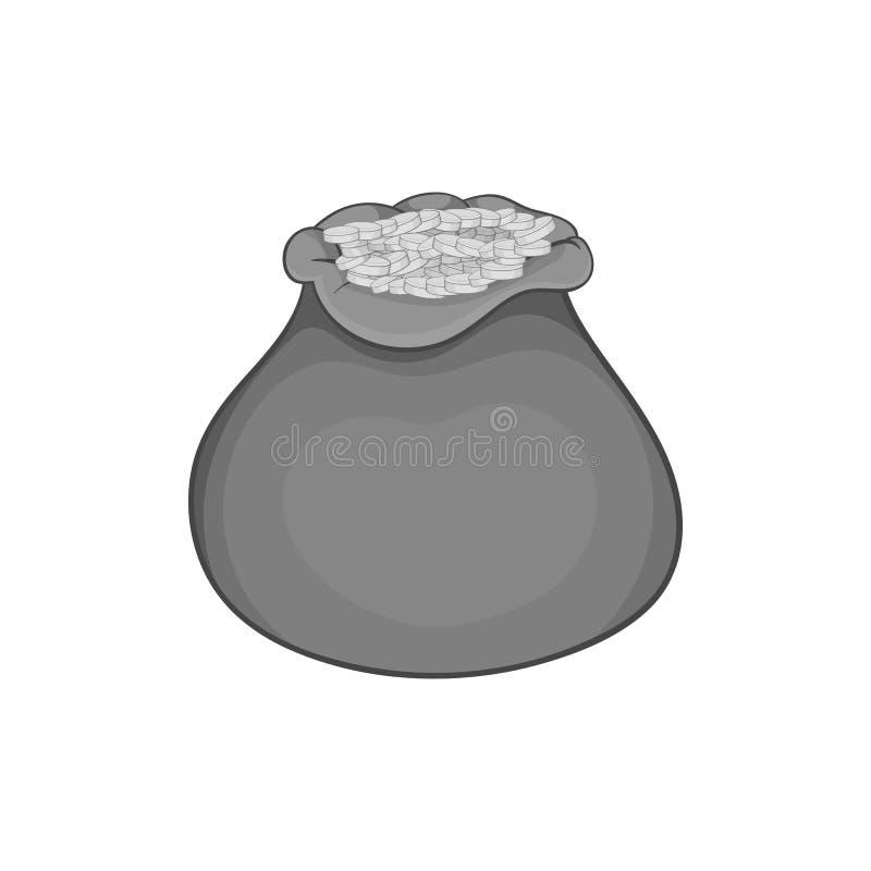 Torba monety ikona, czarny monochromu styl ilustracja wektor