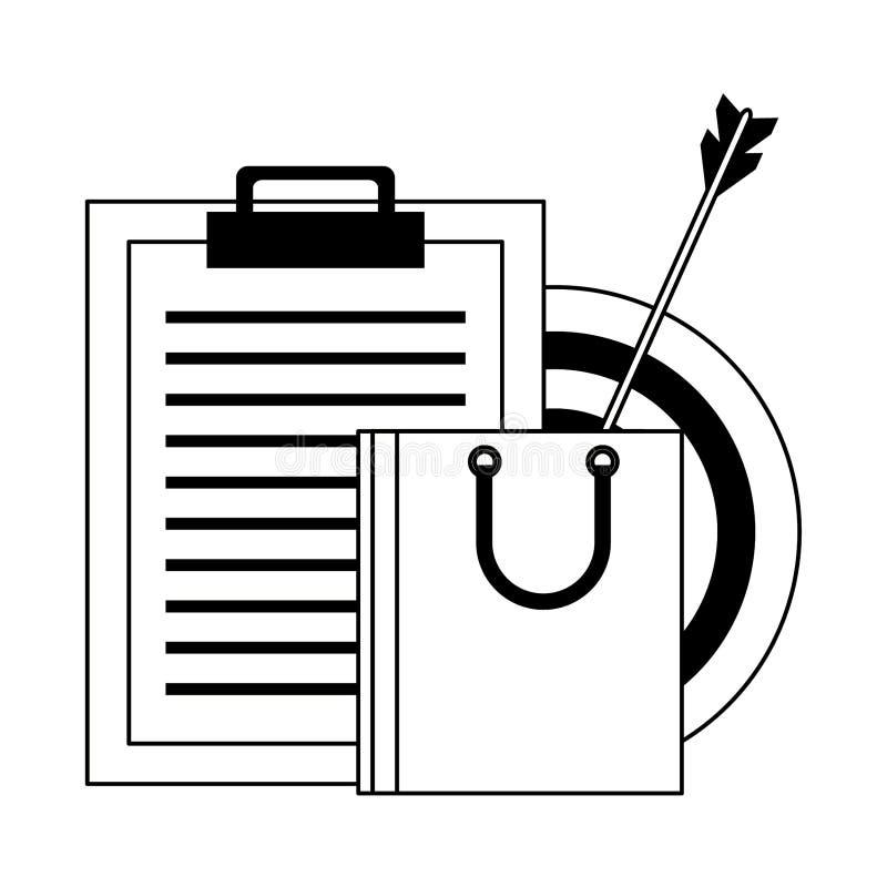 Torba na zakupy i schowek z celów symbolami w czarny i biały royalty ilustracja