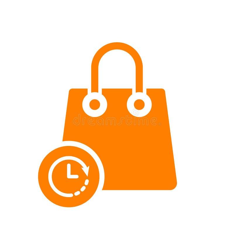 Torba na zakupy ikona, biznesowa ikona z zegaru znakiem Torba na zakupy ikona i odliczanie, ostateczny termin, rozkład, planistyc ilustracji
