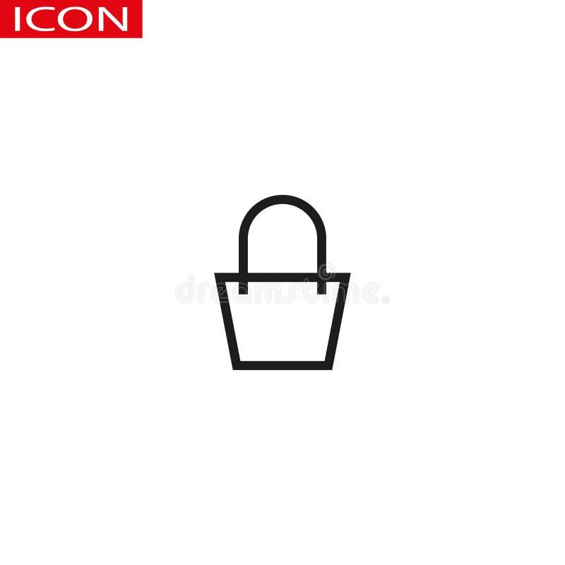 Torba na zakupy konturu ikona liniowy stylu znak dla mobilnego pojęcia i sieć projekta Papierowej torby prosta kreskowa wektorowa ilustracja wektor