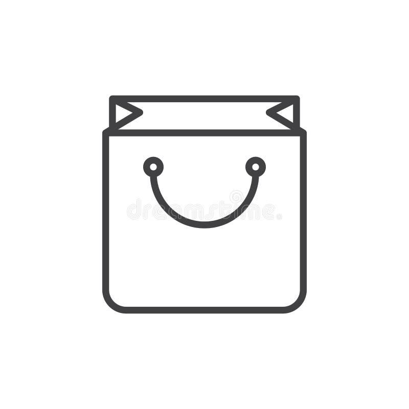 Torba na zakupy kreskowa ikona, konturu wektoru znak, liniowy stylowy piktogram odizolowywający na bielu ilustracja wektor