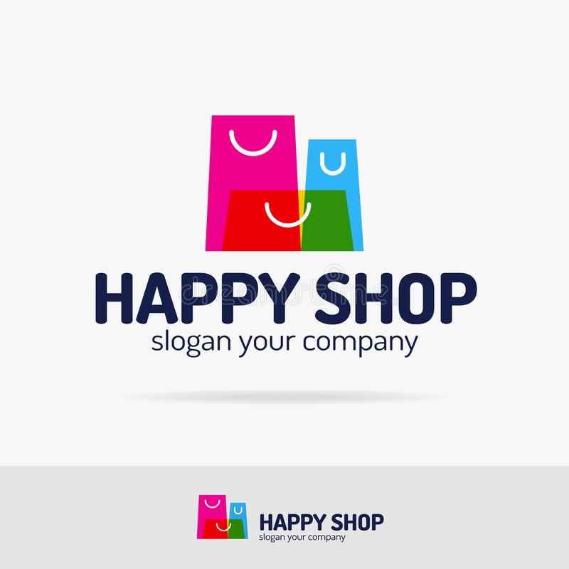 Torba na zakupy loga ustalony kolorowy nowożytny styl dla sklepu, sklepowy emblemat royalty ilustracja