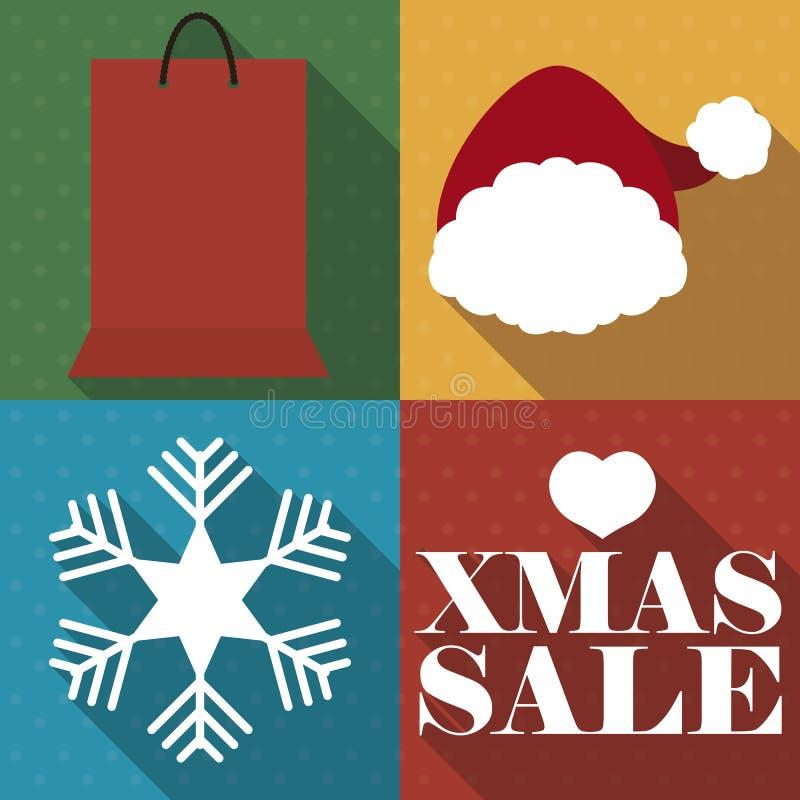Torba Na Zakupy, Santa kapelusz, płatek śniegu dla Bożenarodzeniowego sprzedaż sezonu, Wektorowa ilustracja ilustracji