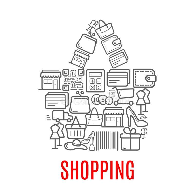 Torba na zakupy symbol robić up sprzedaży ikony ilustracja wektor