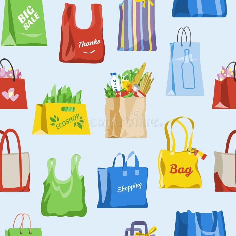 Torba na zakupy wektoru sklepu torba i miechowaty pakunek dla zakupu od moda sklepu ilustracyjnego ustawiającego prezenta lub spr ilustracja wektor
