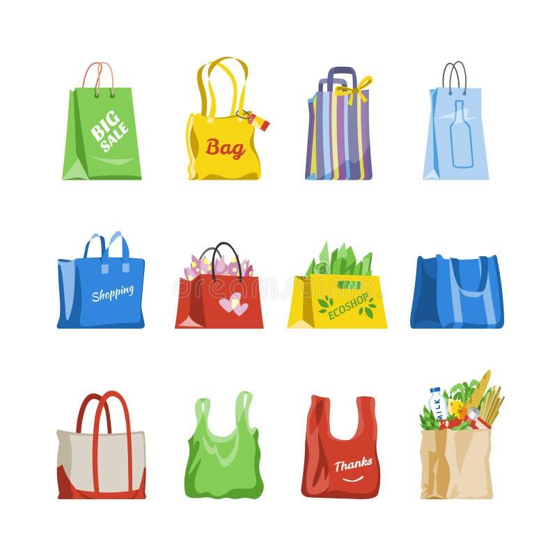 Torba na zakupy wektoru sklepu torba i miechowaty pakunek dla zakupu od moda sklepu ilustracyjnego ustawiającego prezenta lub spr ilustracji