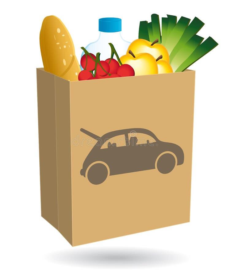 Torba na zakupy wypełniający z jedzeniem Prowadnikowa ikona ilustracja wektor