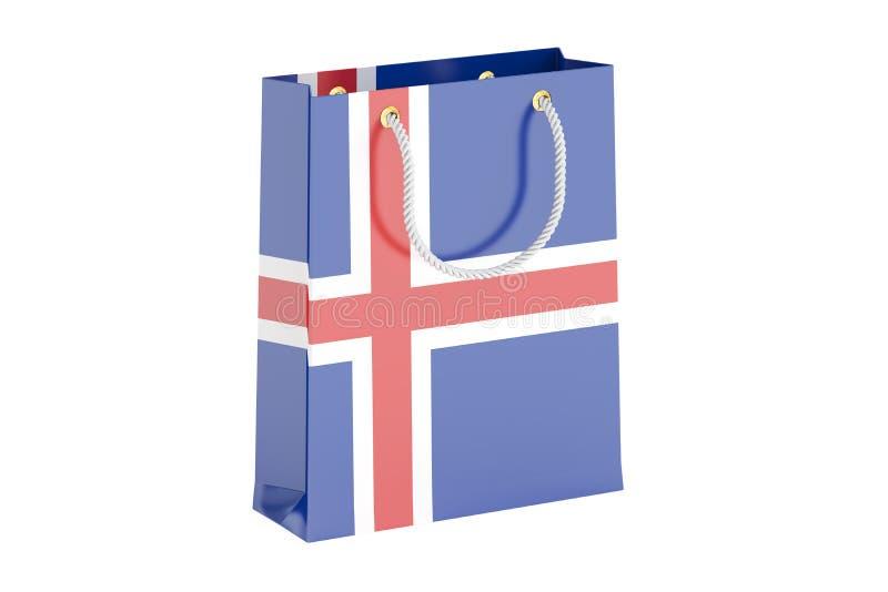 Torba na zakupy z Islandzką flaga, 3D rendering royalty ilustracja