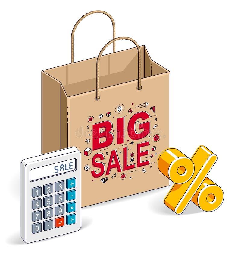 Torba na zakupy z kalkulatorem i procentu symbolem, duża sprzedaż, sello royalty ilustracja