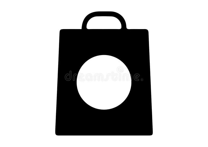 Torba na zakupy z okrąg ikonami royalty ilustracja