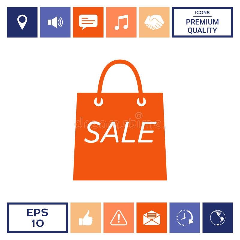 Torba na zakupy z sprzedażą, dyskontowy symbol ilustracja wektor