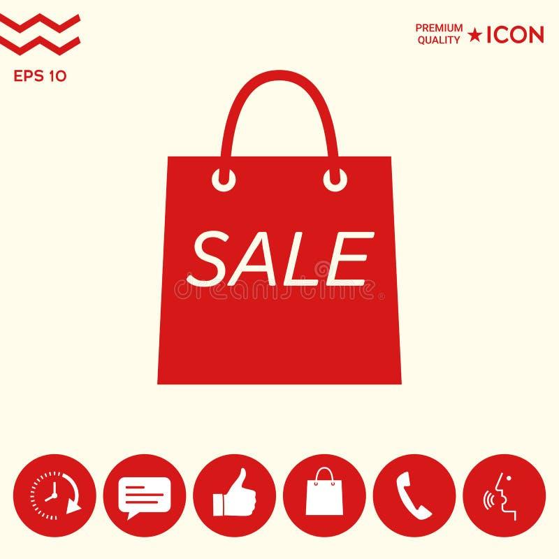Torba na zakupy z sprzedażą, dyskontowy symbol royalty ilustracja