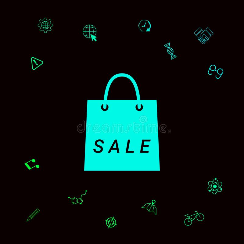 Torba na zakupy z sprzedażą, dyskontowy symbol Graficzni elementy dla twój designt ilustracji
