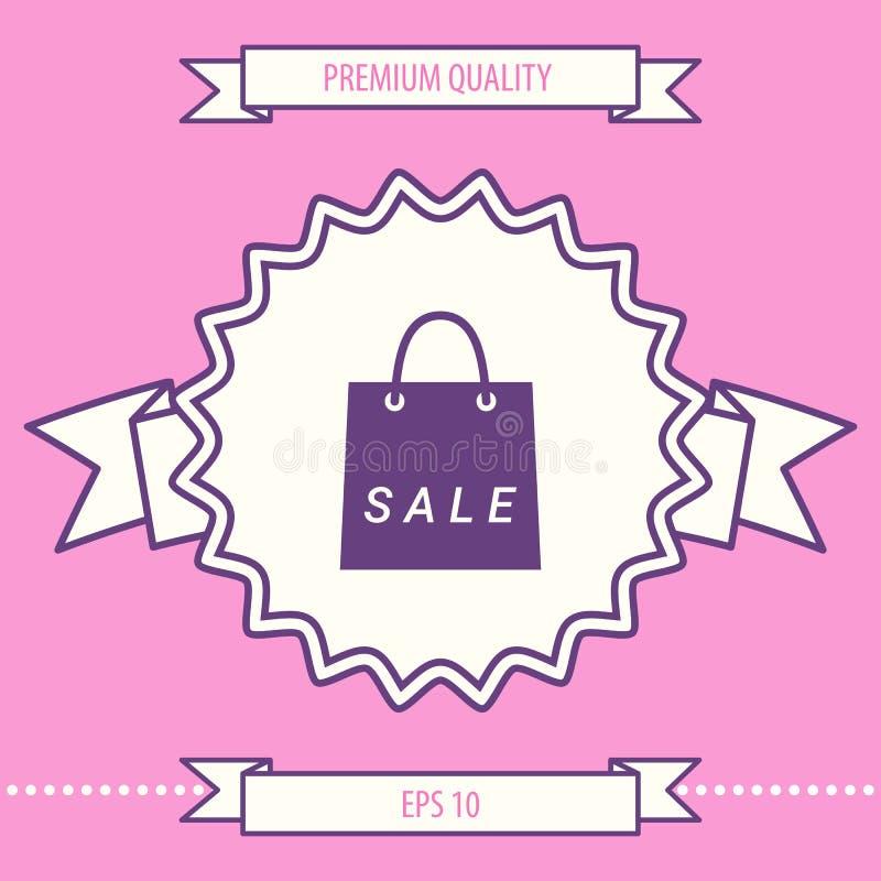 Torba na zakupy z sprzedażą, dyskontowy symbol Graficzni elementy dla twój projekta ilustracji