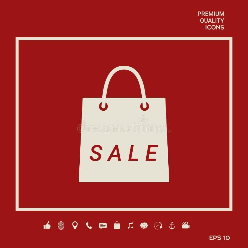 Torba na zakupy z sprzedażą, dyskontowy symbol Graficzni elementy dla twój projekta ilustracja wektor