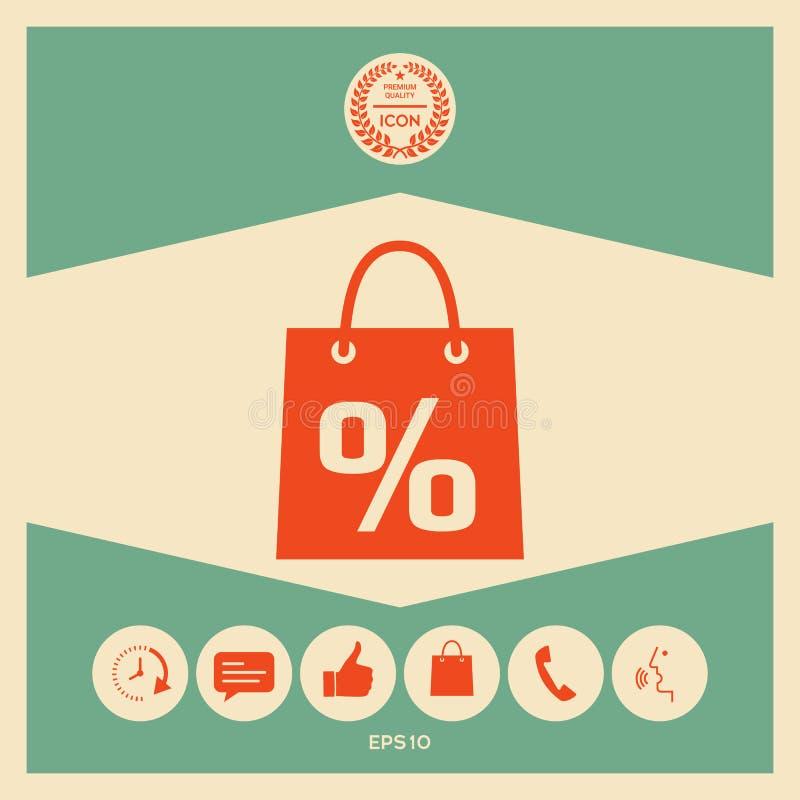 Torba na zakupy z sprzedażą, procent, dyskontowy symbol ilustracja wektor