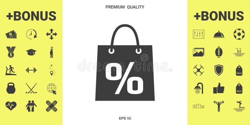Torba na zakupy z sprzedażą, procent, dyskontowy symbol royalty ilustracja