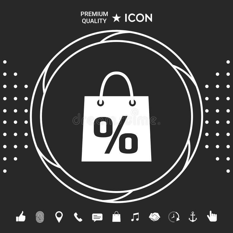 Torba na zakupy z sprzedażą, procent, dyskontowy symbol Graficzni elementy dla twój designt ilustracja wektor