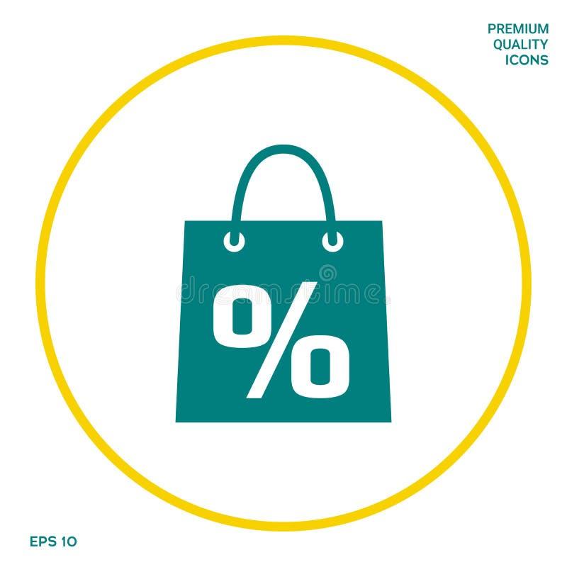 Torba na zakupy z sprzedażą, procent, dyskontowy symbol Graficzni elementy dla twój projekta ilustracji