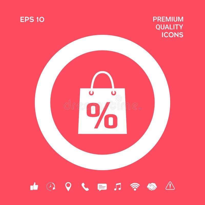 Torba na zakupy z sprzedażą, procent, dyskontowy symbol Graficzni elementy dla twój projekta royalty ilustracja