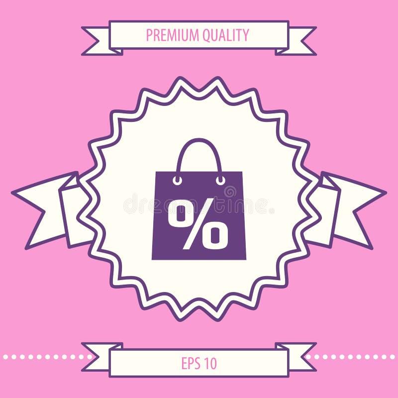 Torba na zakupy z sprzedażą, procent, dyskontowy symbol Graficzni elementy dla twój projekta ilustracja wektor