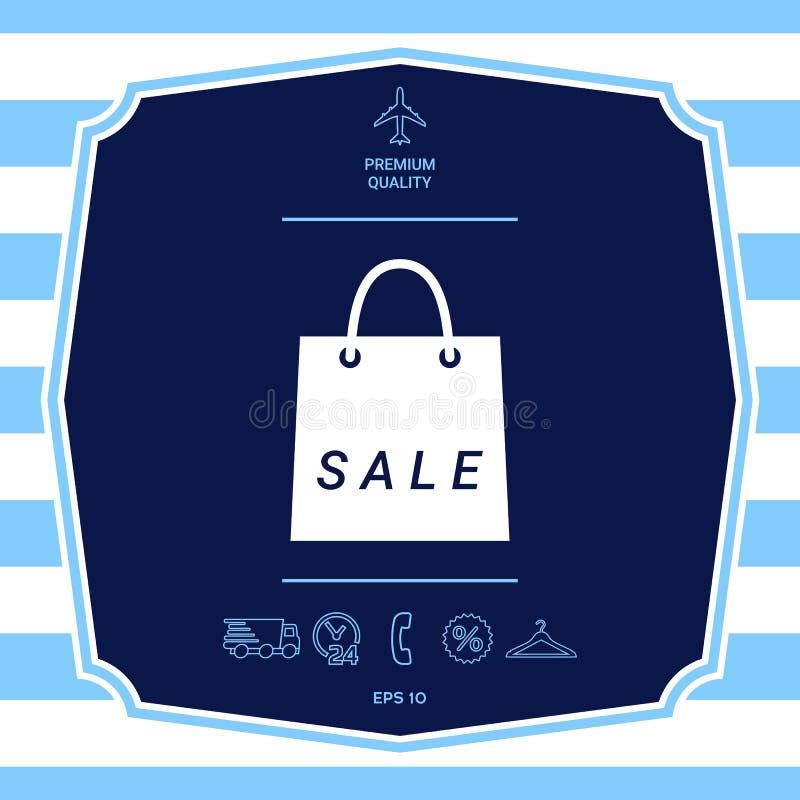 Torba na zakupy z sprzeda??, dyskontowy symbol Graficzni elementy dla tw?j projekta royalty ilustracja