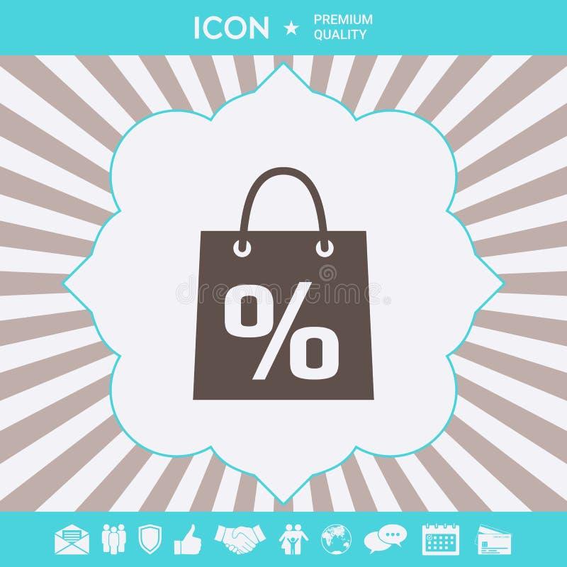 Torba na zakupy z sprzeda??, procent, dyskontowy symbol Graficzni elementy dla tw?j projekta ilustracja wektor