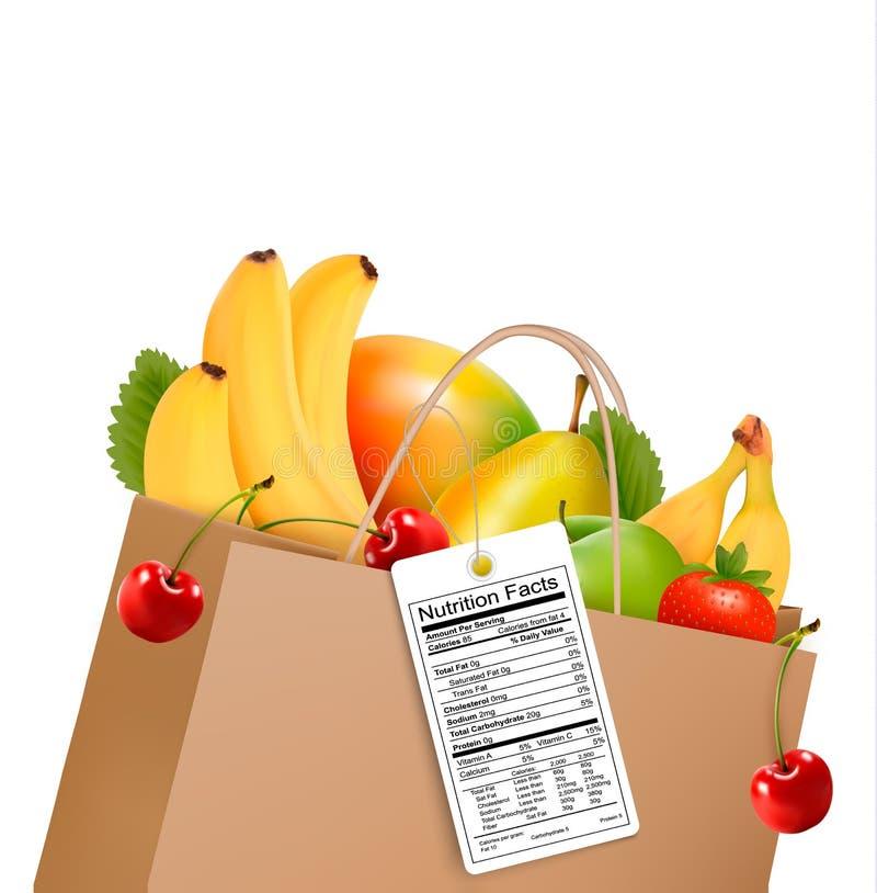 Torba na zakupy z zdrową owoc i odżywki etykietką royalty ilustracja