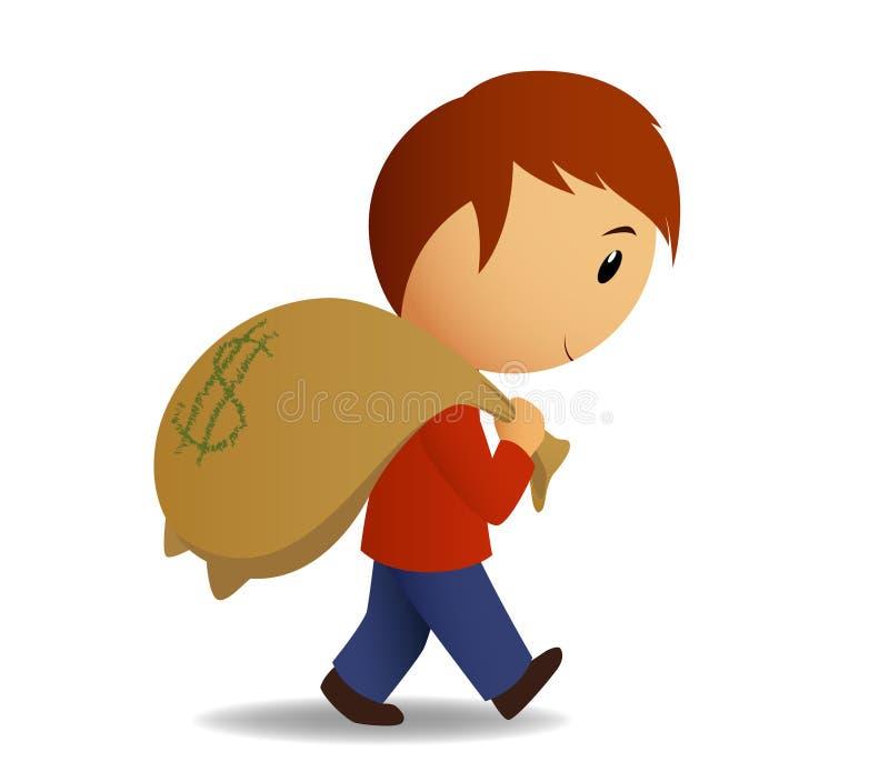 torba niesie mężczyzna pieniądze ramię ilustracja wektor