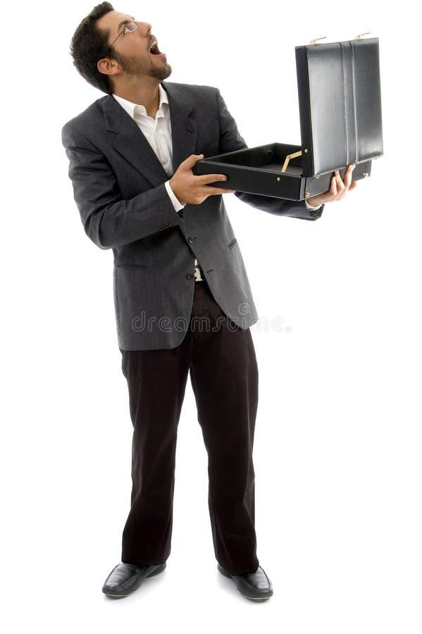 torba opróżnia jego przyglądający mężczyzna zaskakujących potomstwa zdjęcia royalty free