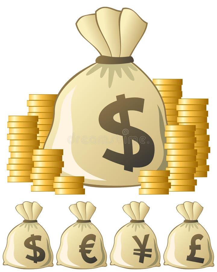 torba pieniądze ilustracji