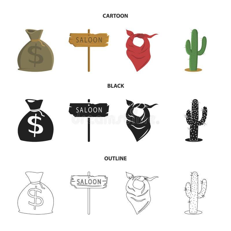 Torba pieniądze, bar, kowbojska chustka, kaktus Dzikiego zachodu ustalone inkasowe ikony w kreskówce, czerń, konturu stylowy wekt royalty ilustracja