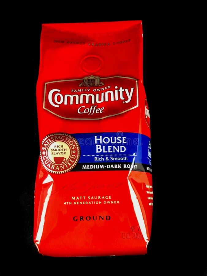 Torba społeczności kawy domu mieszanka na Czarnym tle zdjęcia royalty free