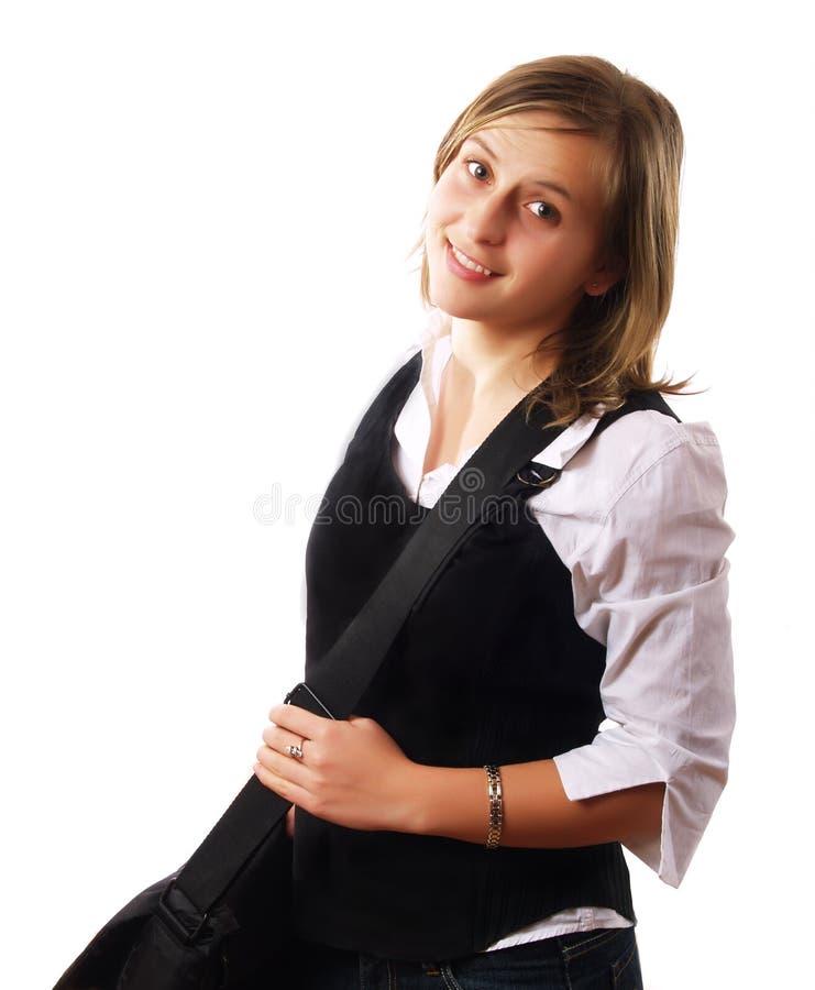 torba uśmiecha się nosić młodych kobiet obraz royalty free