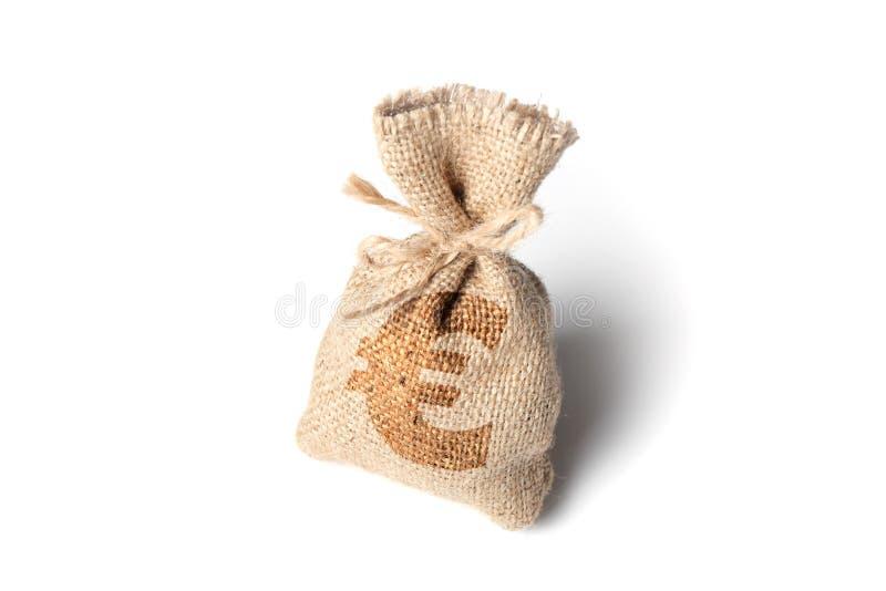 Torba z pieniądze i euro symbolem Odizolowywa na bia?ym tle obraz stock