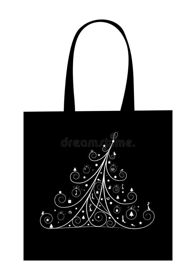 torby bożych narodzeń projekta zakupy drzewo ilustracja wektor