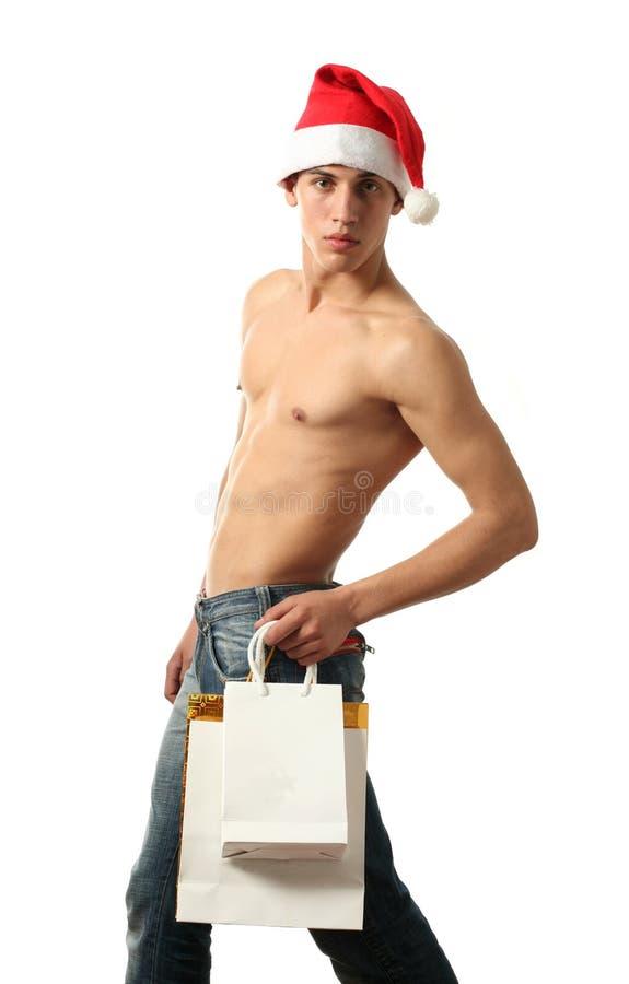 torby Claus Santa zakupy odbitkowa seksowna przestrzeń zdjęcie stock