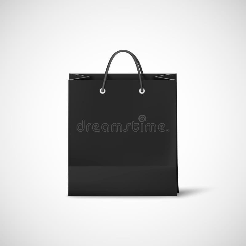 torby czerń papieru zakupy Szablon pusta czarna kartonowa torba wektor royalty ilustracja