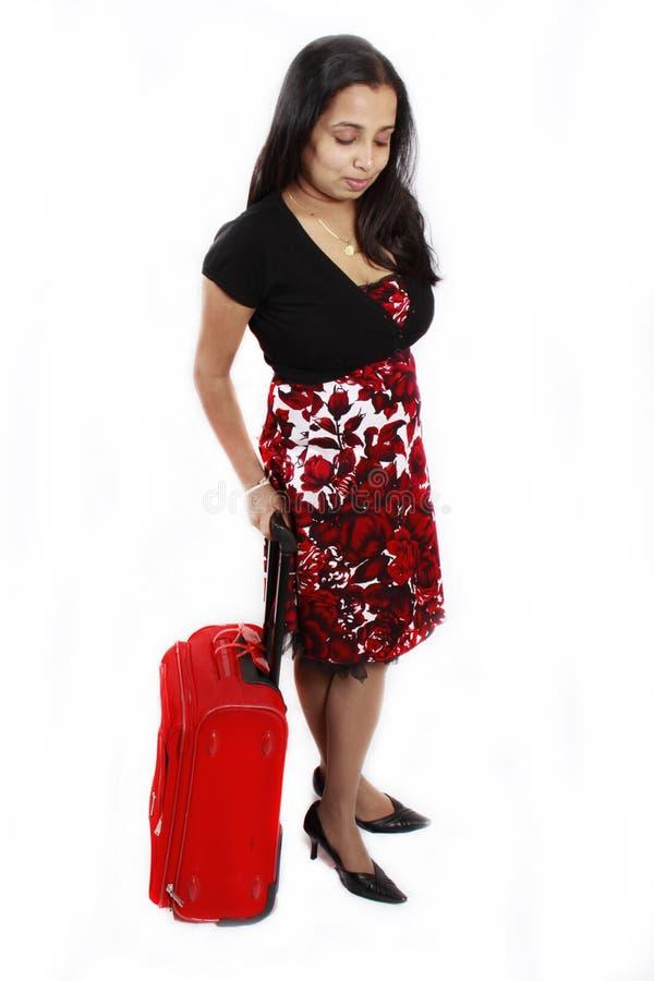 torby dziewczyny czerwona podróż obrazy royalty free